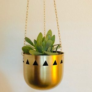 TRIBAL DESIGN SET OF TWO Gold Hanging Planters